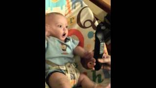 Silly Baby Boy Goes Crazy Over A Remote Control