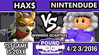 Pound 2016 – Hax$ (Fox) Vs. SPY | Nintenude (Ice Climbers) SSBM Winners Quarters – Smash Melee