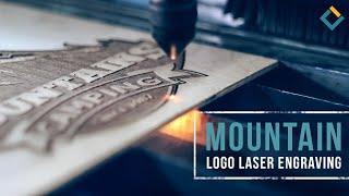 Mountain logo laser engraving