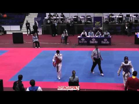 58kg Final Iskakov Zhanet (RUS) vs (BEL) Bensalehi Salaheddina (-21 European TKD Championships 2015) (видео)