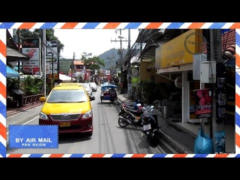 Lamai Beach Road drive in Songthaew taxi (tuk tuk), Thailand – Koh Samui attractions