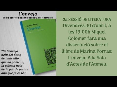 Miquel Colomer fa una dissertació sobre el llibre 'L'enveja', de Marina Porras, a l'Ateneu Arenyenc