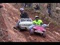 Barbie jeep racing crashes