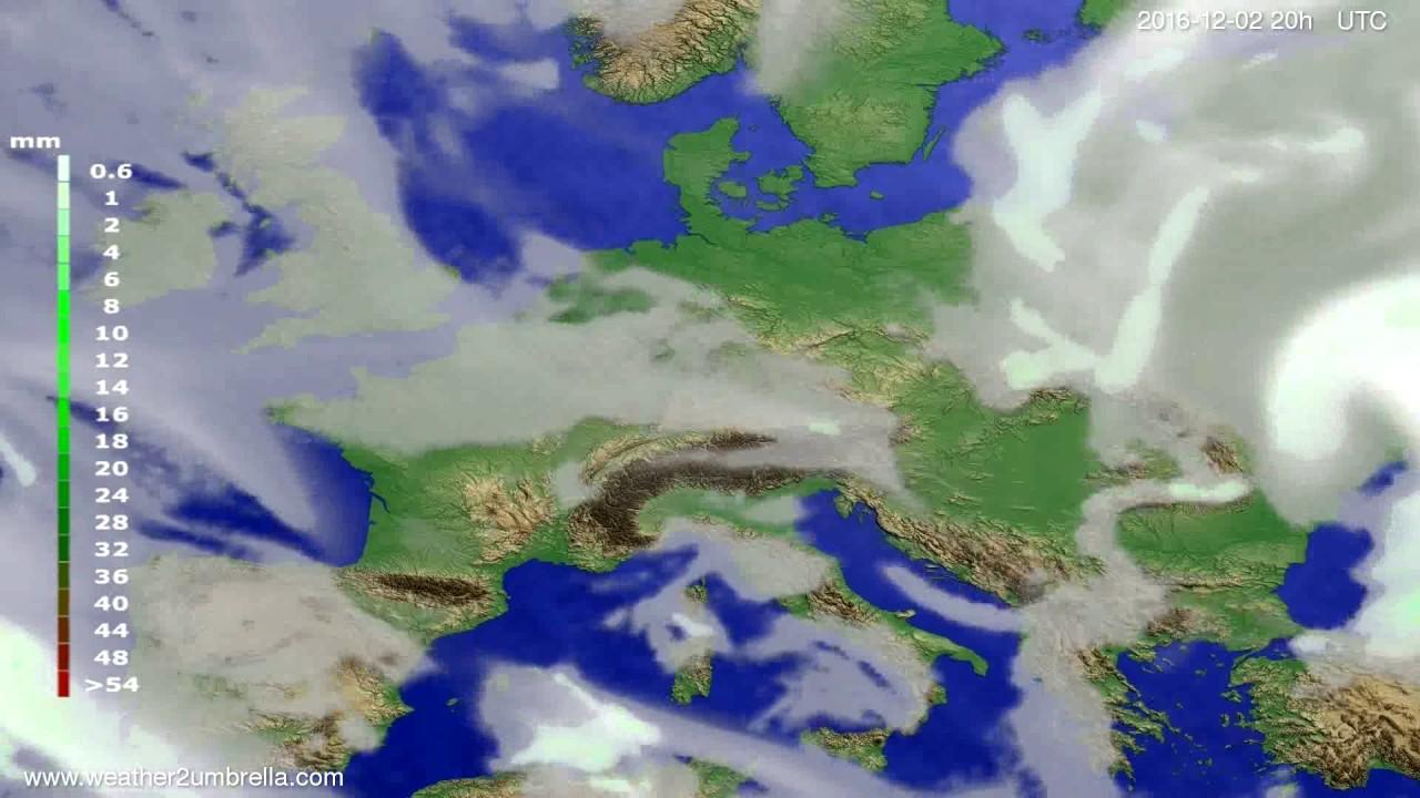 Precipitation forecast Europe 2016-11-30