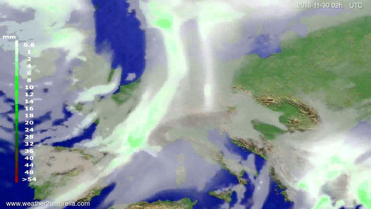 Precipitation forecast Europe 2018-11-26