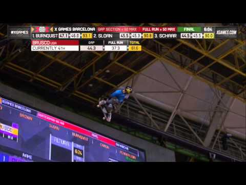 1080 - Mitchie Brusco makes history landing the first 1080 in a competition EVER in Skateboard Big Air at X Games Barcelona 2013. EPIC! More videos and X Games even...