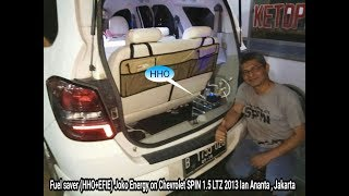 "Saving fuel ""Joko Energy Indonesia"" on this Chevrolet SPIN 1.5L 2013 using HHO reactor which decompose water (H2O) into HHO or oxyhydrogen gas.Hydrogen gas to raise the octane / cetane quality so that more fuel is more powerful engine.Oxygen gas to enhance the internal combustion engine making it more efficient and more environmentally friendly.Saving fuel can be used for all vehicles that use petrol, diesel and gas.___Penghemat bbm ""Joko Energy Indonesia"" pada mobil Chevrolet SPIN 1.5L 2013 ini menggunakan reaktor HHO yang menguraikan air (H2O) menjadi gas HHO atau OxyHydrogen.Gas Hidrogen untuk menaikan oktan/cetane agar bbm lebih berkualitas sehingga mesin kendaraan lebih bertenaga.Gas Oksigen untuk menyempurnakan pembakaran internal mesin sehingga lebih hemat dan lebih ramah lingkungan.Penghemat bbm ini bisa digunakan untuk semua kendaran yang menggunakan: bensin, solar dan gas."