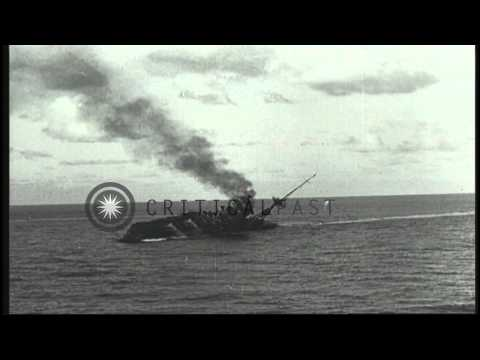 Heavy Columns Of Smoke Rise Up As HMS Barham Explodes After Being Torpedoed In Th...HD Stock Footage