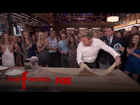 Chef Gordon Ramsay Sets a Guinness World Record for the Longest Pasta Sheet Rolled In 60
