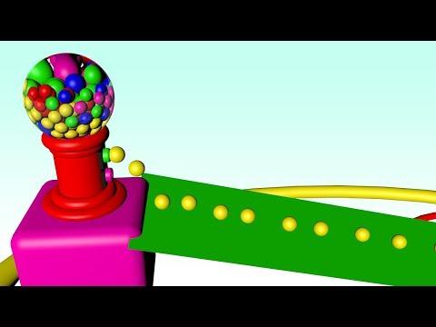 aprenda as cores com bolas e mquina de chicletes desenho animado