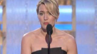 Cameron Diaz and Mark Walberg present the 2009 Golden Globe Award for Best Actress in a Motion Picture Drama to Kate Winslet for her performance in ...
