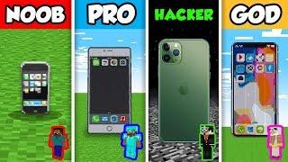 NOOB vs PRO vs HACKER vs GOD :WORKING IPHONE CHALLENGE in Minecraft! (Animation)