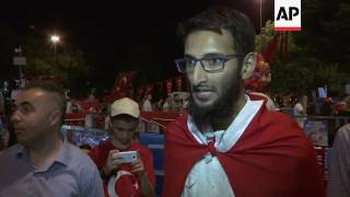 """(16 Jul 2017) Turks marked the defeat of a coup attempt last year with a vigil in Istanbul early on Sunday.Turkey is commemorating one year since authorities quashed last summer's coup attempt.  As on the night of the coup attempt, mosques across Turkey simultaneously recited a verse, usually read before Friday prayers, to alert and invite Muslims to the streets.Turkey blames US-based Muslim cleric Fethullah Gulen for masterminding the July 15 coup attempt but he denies the allegations.The country imposed a state of emergency following the coup, allowing the government to rule by decrees. More than 50,000 people have been arrested and some 100,000 public employees sacked for alleged links to Gulen and other extremist groups.Some Turks were in defiant mood during Sunday's vigil.""""The reason we are here is to take our country's side against imperialists and forces of West"""", one local resident said.You can license this story through AP Archive: http://www.aparchive.com/metadata/youtube/87e2d611cf90558fee8d0442ed60d801 Find out more about AP Archive: http://www.aparchive.com/HowWeWork"""