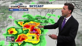 "The forecast picture is a little ""muddy"" as we head through the next couple of days, but either way, it looks to be unsettled at times, with tonight being the main threat of stronger storms. Yet another system will be approaching the area today bringing increasing clouds and a chance of a later afternoon shower or T'storm. Highs will be warm again in the upper-80s with plenty of humidity.  A first complex of showers and T'storms will be moving through the area as we head through the evening. Some of these could bring some gusty wind and heavy rain. The question is, ""What develops after that?"" If anything does, those could be strong as well. The farther you live to the south and west, the higher the chance you could see the bigger storms. Lows will be warm in the upper-60s."