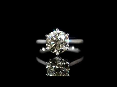 CGL Certified 3.02ct Round Brilliant 'Hearts and Arrows' Cut Diamond Ring