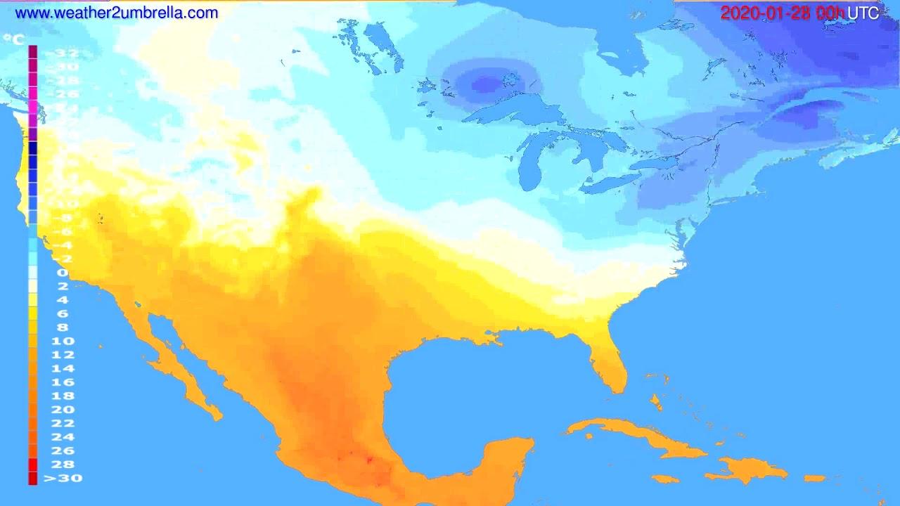 Temperature forecast USA & Canada // modelrun: 00h UTC 2020-01-27