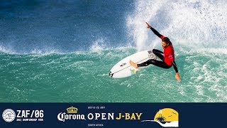 Frederico Morais, Mick Fanning, and John John Florence paddle out in Round Four, Heat 2 at the 2017 Corona Open J-Bay.