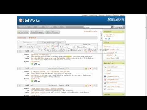 quick search - Using Quick Search tool to search for references and attachments containing specific words in RefWorks.