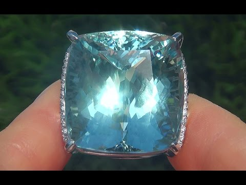 Worlds Largest GIA Certified FLAWLESS Natural Aquamarine Diamond PLATINUM Ring - A141577