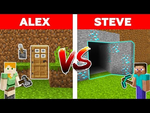 Minecraft - SECRET DOOR Vs HIDDEN HOUSE / Alex Vs Steve Episode 1