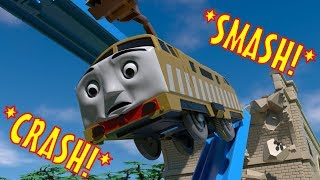 TOMICA Thomas and Friends Slow Motion Crashes: Diesel 10 FALLS off the Viaduct!