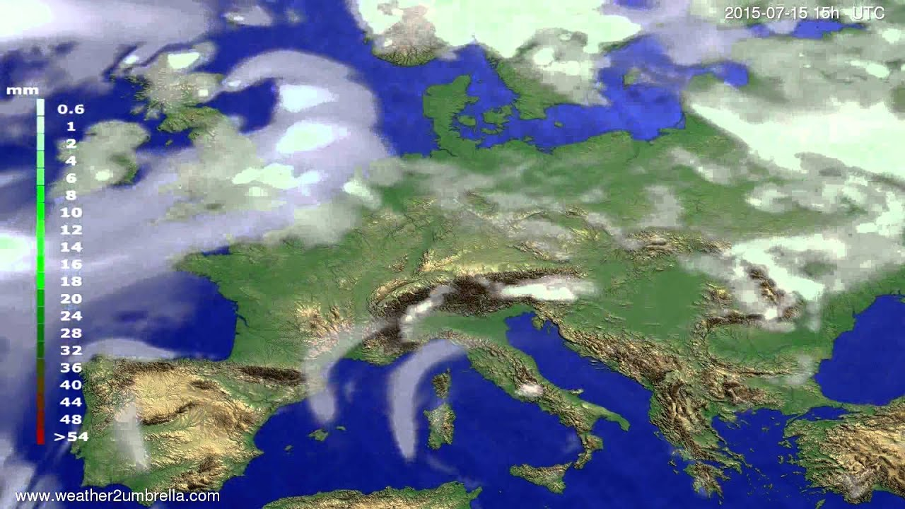 Precipitation forecast Europe 2015-07-13