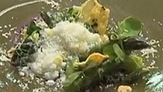 Michelin starred chef Agnar Sverrisson creates an asparagus with seaweed & parmesan snow recipe