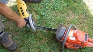 Chainsaw sharpening with an angle grinder