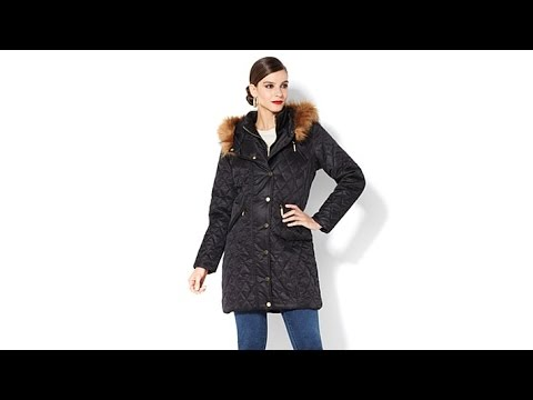 IMAN Platinum Quilted Puffer Coat with Faux Fur Trim