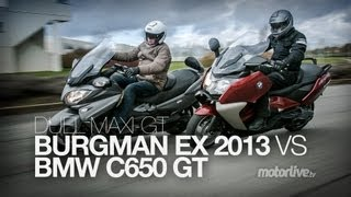 9. DUEL | BMW C650 GT 2013 vs SUZUKI BURGMAN 650 Executive 2013 !