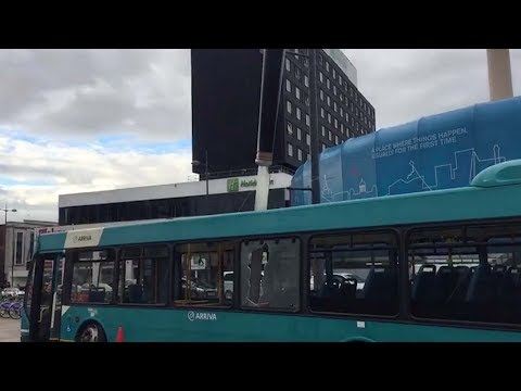 Huge Knife Plunged Into Bus To Raise Awareness