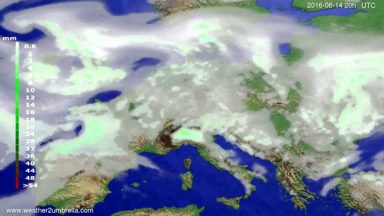 Precipitation forecast Europe 2016-06-12