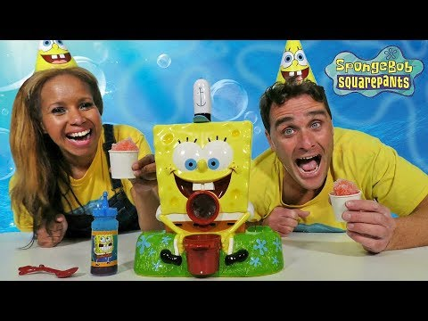 SpongeBob Sno-Cone Maker + Toy Challenge!    Toy Review    Konas2002