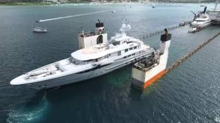 Aerial footage of Sevenstar Yacht Transport's dedicated partner DYT Yacht Transport clearly shows the loading process in Le...
