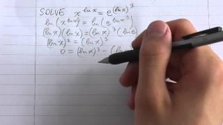 Solve: (x)^(ln(x)) = (e)^(ln(x))^3