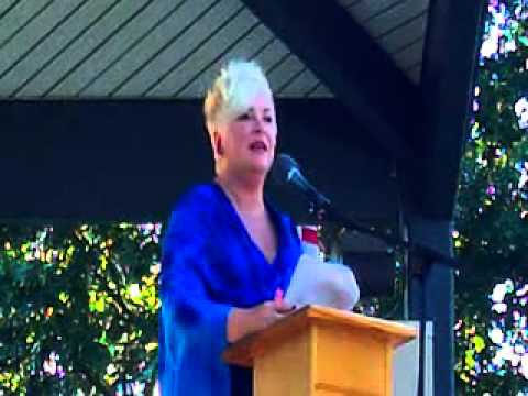 Lori Moore hosts the 9-11 ceremony in Bronson Park on 9-11-2012.