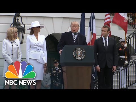 President Donald Trump Leads WH Arrival Ceremony For French President Emmanuel Macron | NBC News