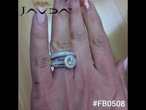 Javda Round Diamond Bridal Set Engagement Ring 14k White Gold