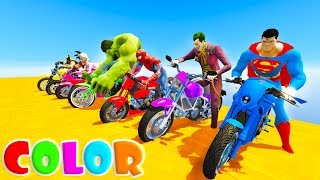 Mickey Mouse and Superheroes new challenge on color Motorcycles. Funny Learn colors for baby.