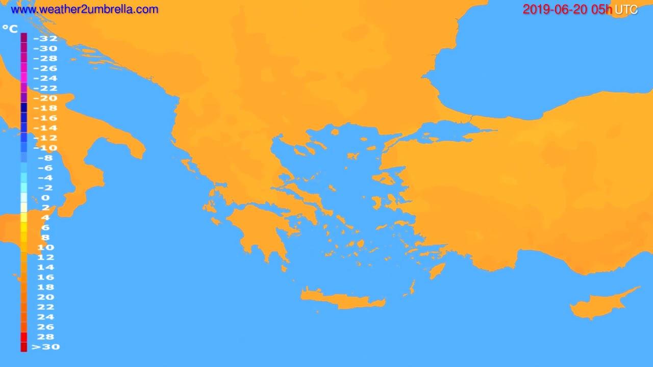 Temperature forecast Greece // modelrun: 00h UTC 2019-06-18