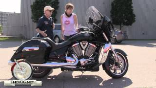 8. Carol Test Rides Four Victory Motorcycles - Vegas 8-Ball, Cross Roads and Two Cross Country's