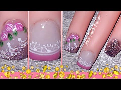 Decoración de uñas cortas/uñas decoradas cortas/uñas rosa con glitter rose gold