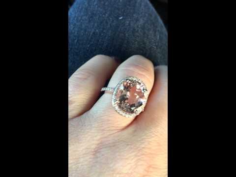 Oval Morganite Diamond Engagement Ring 14K Rose Gold
