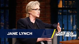 Jane Lynch talks about transforming into Janet Reno for Discovery's Unabomber crime-drama Manifesto.» Subscribe to Late Night: http://bit.ly/LateNightSeth» Get more Late Night with Seth Meyers: http://www.nbc.com/late-night-with-seth-meyers/» Watch Late Night with Seth Meyers Weeknights 12:35/11:35c on NBC.LATE NIGHT ON SOCIALFollow Late Night on Twitter: https://twitter.com/LateNightSethLike Late Night on Facebook: https://www.facebook.com/LateNightSethFind Late Night on Tumblr: http://latenightseth.tumblr.com/Connect with Late Night on Google+: https://plus.google.com/+LateNightSeth/videosLate Night with Seth Meyers on YouTube features A-list celebrity guests, memorable comedy, and topical monologue jokes.NBC ON SOCIAL Like NBC: http://Facebook.com/NBCFollow NBC: http://Twitter.com/NBCNBC Tumblr: http://NBCtv.tumblr.com/NBC Pinterest: http://Pinterest.com/NBCtv/NBC Google+: https://plus.google.com/+NBCYouTube: http://www.youtube.com/nbcNBC Instagram: http://instagram.com/nbctvJane Lynch's Film Award Put Airport TSA on High Alert- Late Night with Seth Meyershttps://youtu.be/https://youtu.be/aYdBoodwKcoLate Night with Seth Meyershttp://www.youtube.com/user/latenightseth