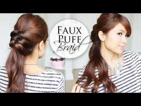 Easy 5 Min Hairstyle ♥ Faux Puff Braid