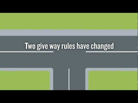The give way rule for uncontrolled T-intersections has changed