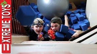Video Box Fort Nerf Battle! Ethan Vs. Cole Nerf Attack in a Crazy Huge Cardboard Box Base MP3, 3GP, MP4, WEBM, AVI, FLV April 2019