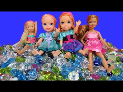 PLAYING in GEMS! ELSA & ANNA toddlers, Stacie & Chelsea in toy DIAMONDS!
