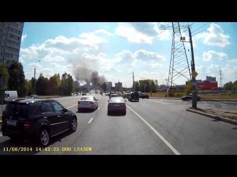 Возгорание автовышки КАМАЗ.  Москва