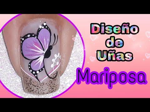 Uñas decoradas - Decoración de uñas MARIPOSA en morado lila/mariposa paso a paso